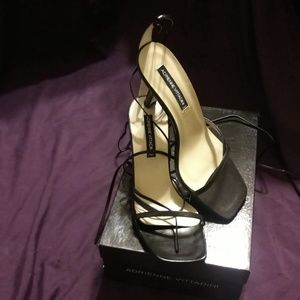 Adrienne Vittadini black leather  tie up heels